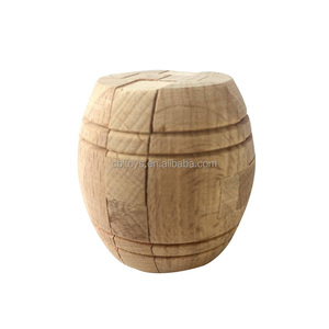4.5cm mini wooden 3D barrel puzzle natural color educational IQ test brain teaser toys puzzle
