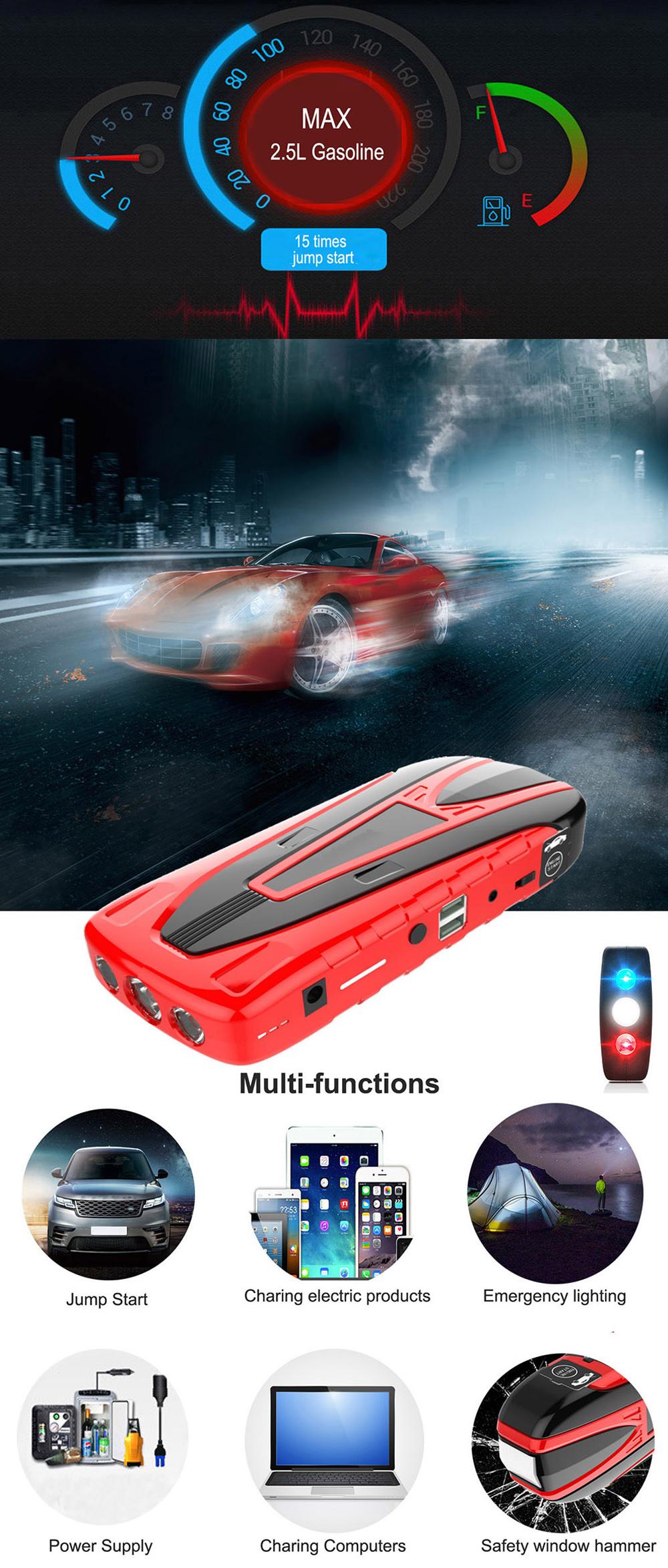 Mobil taşınabilir Mini atlama marş 12000mAh araba Jumper 12V Booster güç pil şarj cihazı telefon laptop taşınabilir güç kaynağı