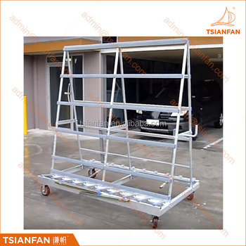 Custom Galvanised Glass and Stone Slab A Frame TransportRack