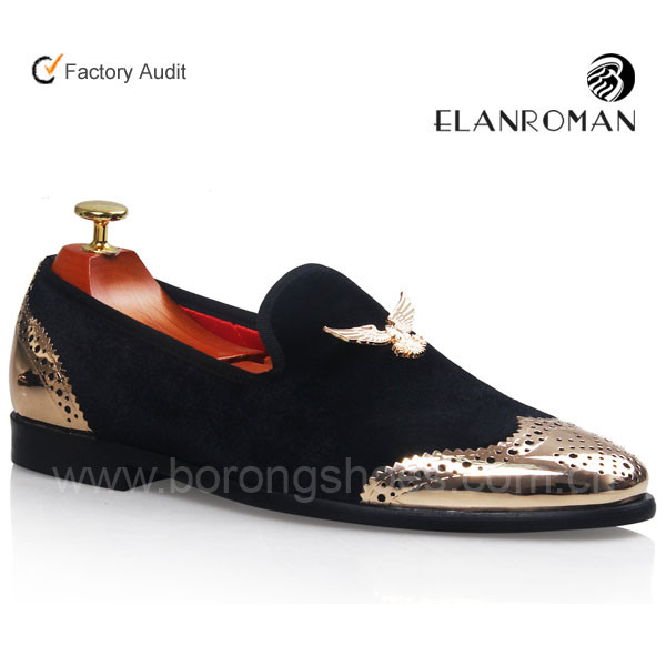 Elanroman Loafers Men Velvet Shoes With Gold Buckle Men Dress Shoe Smoking Slippers