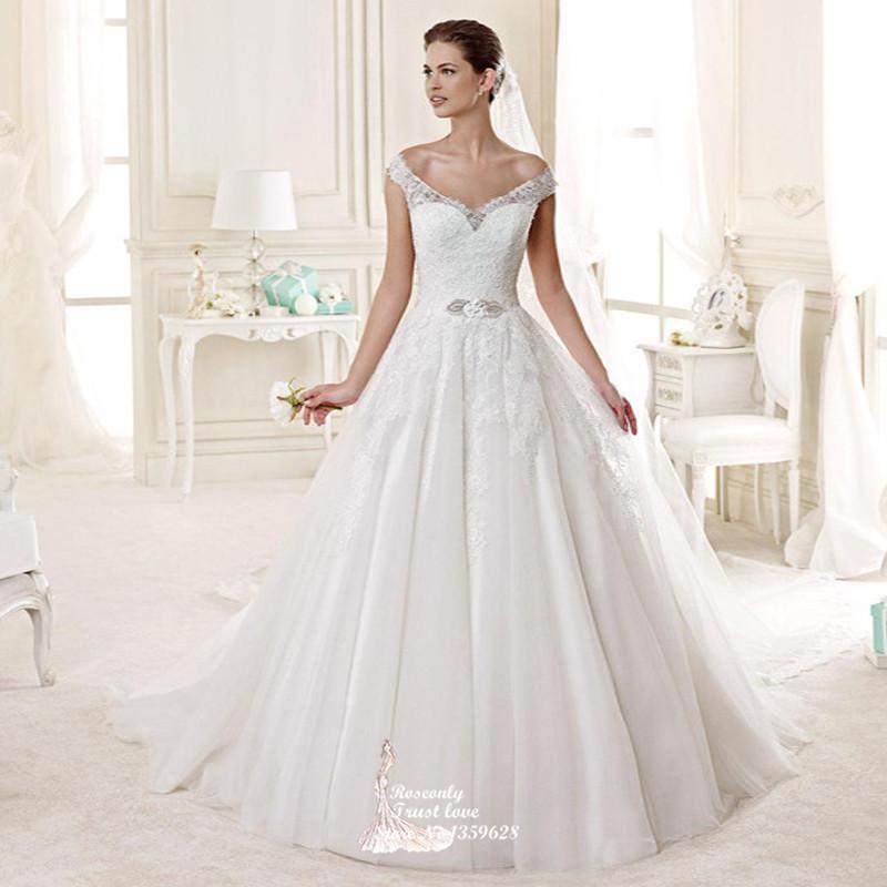 New Fashion 2015 Princess Style Illusion Lace Back Wedding