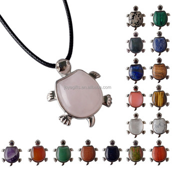 Wholesale Fashion Crystal Jewelry Gemstone Charm Tortoise Pendulum Pendant Necklace