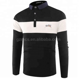 Make Your Metal Logo Polo Shirts Custom Fabric Type Lapel Neck Men's Long Sleeve Tee Shirts OEM Service China Garment Supplier