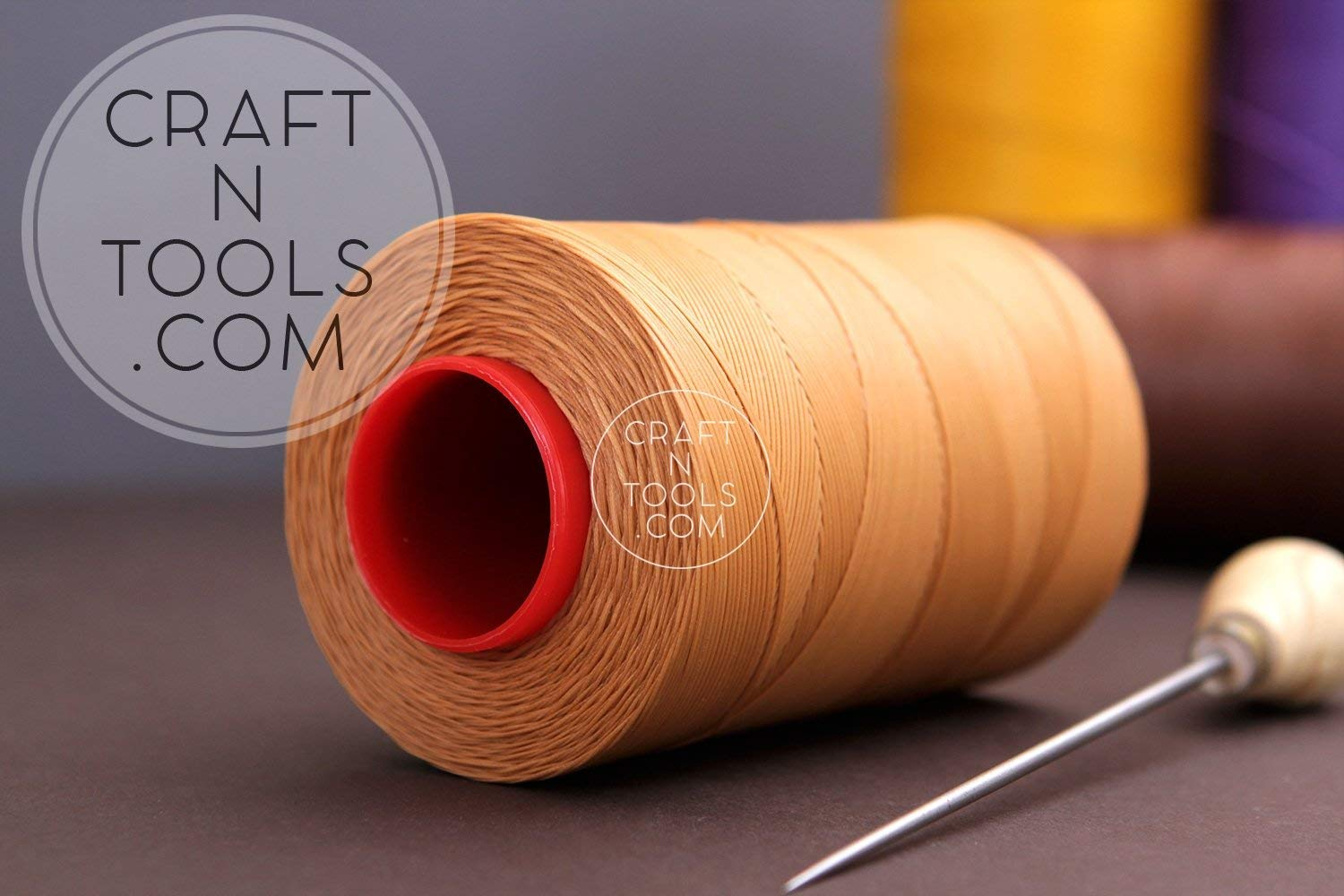 0.6mm Colonial (Tan) Ritza 25 Tiger Waxed Polyester Thread 25-1000m length (25m). Julius Koch Leather Hand Sewing Thread