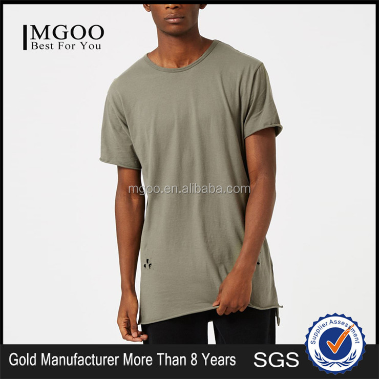 MGOO Hot Sale Distressed Longline T-Shirt Men Khaki Holes Plain Tall Tee With Split Sides