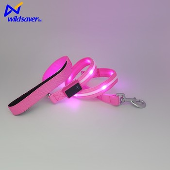 USB recharge outdoor waterproof nylon dog leash&collar led light up pet adjustable leash for night