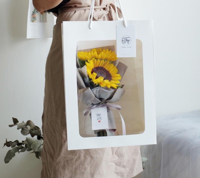 Free Sample Tote Bag Bouquet Translucent Pvc Flower Box Window