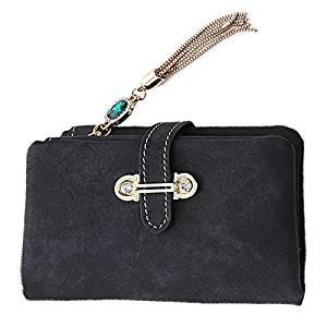 Women Short Wallet - TOOGOO(R)2016 New Fashion Women Wallets Drawstring Nubuck Leather Zipper Wallet Women's Short Design Purse Retro Tassels Clutch(Black)