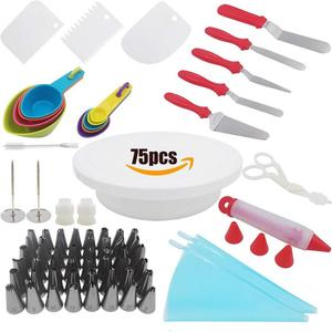 75 Cake Decorating Supplies Kit with Cake Turntable Beginner Baking Supplies with 48 Icing Tips 3 Cake Scrappers