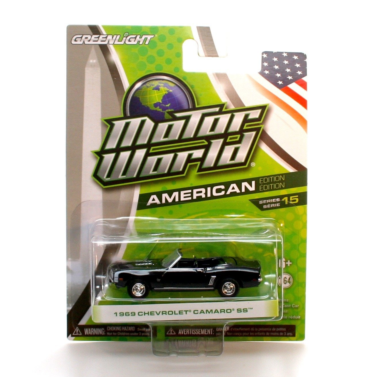 1969 CHEVROLET CAMARO SS (Black) * Motor World Series 15 * 2016 Greenlight Collectibles American Edition 1:64 Scale Die-Cast Vehicle
