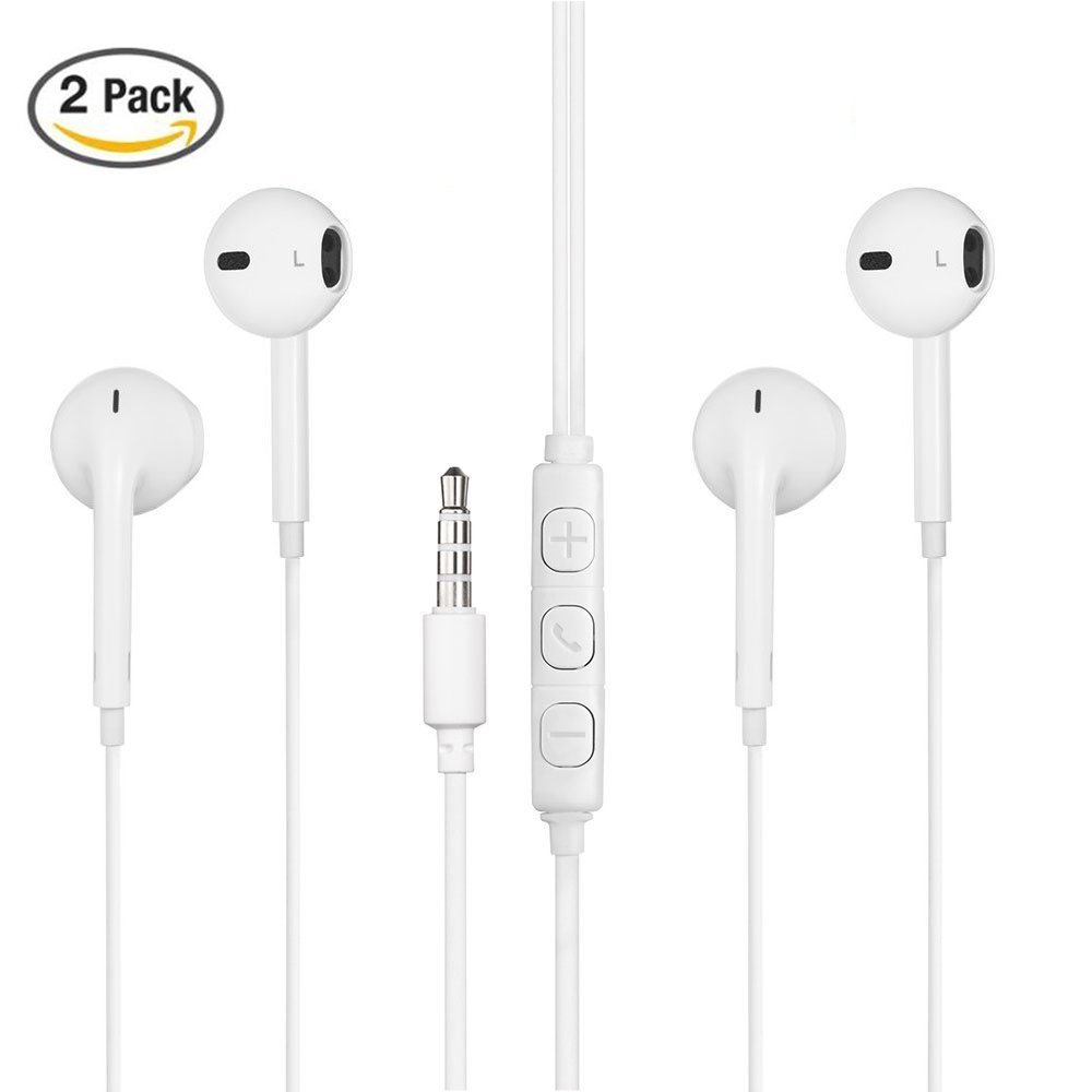 296503f4548 PARLT 2 Pack 3.5m Jack Earphones Headphones Earbuds With Remote Control Mic  Volume for Apple
