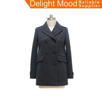 2018 OEM Winter Women Military Style Double Breasted Black Woolen Trench Coat