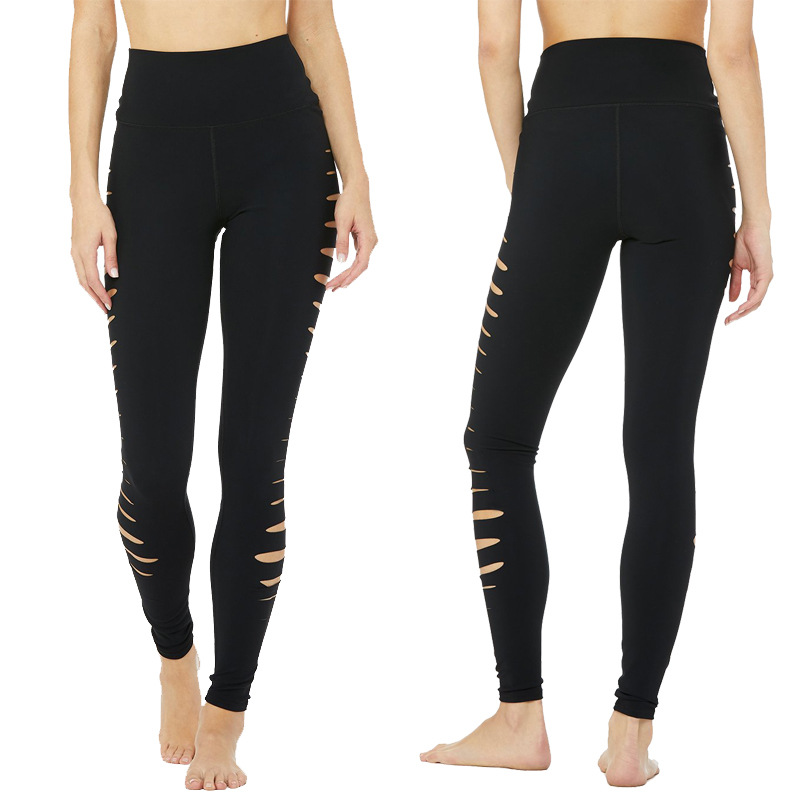 Women Solid Elastic Leggings Solid Criss-Cross Hollow Out Sport Pants Black Exercise Leggings