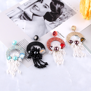 Fashion Long Pearl Tassel Earrings Large Drop Earrings for Women