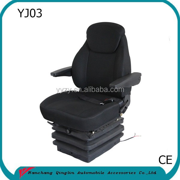 Jiangxi Qinglin factory sell 12V/24v motor Heavy Duty Truck Rotating Seat with armrest,headrest,seat belt and swivel(YJ03)
