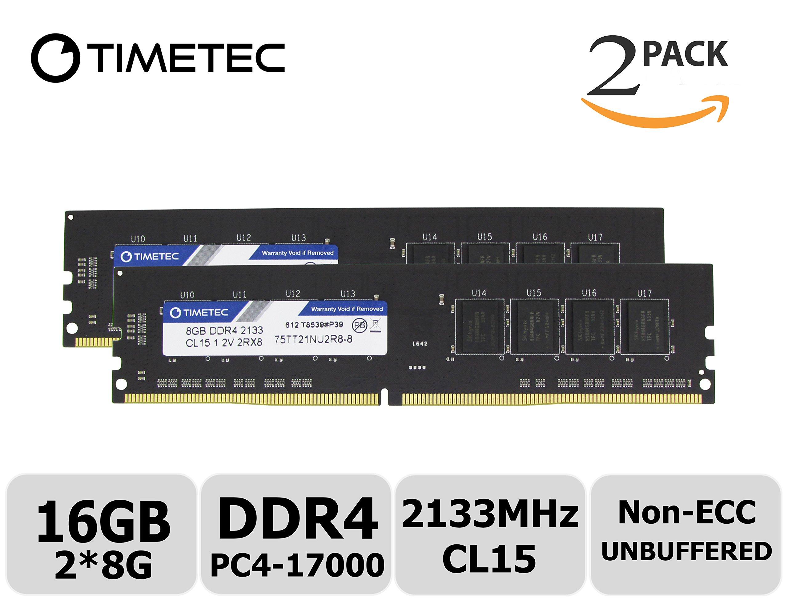 Timetec Hynix IC 16GB KIT(2x8GB) DDR4 2133MHz PC4-17000 Non ECC Unbuffered 1.2V CL15 2Rx8 Dual Rank 288-Pin UDIMM Desktop PC Computer Memory Ram Module Upgrade (16GB KIT (2x8GB))