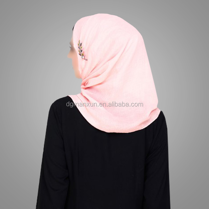 Latest Design Beautiful Floral Patched Peach Hijab Stylish Embroidered Niqab Daily Dubai Scarf