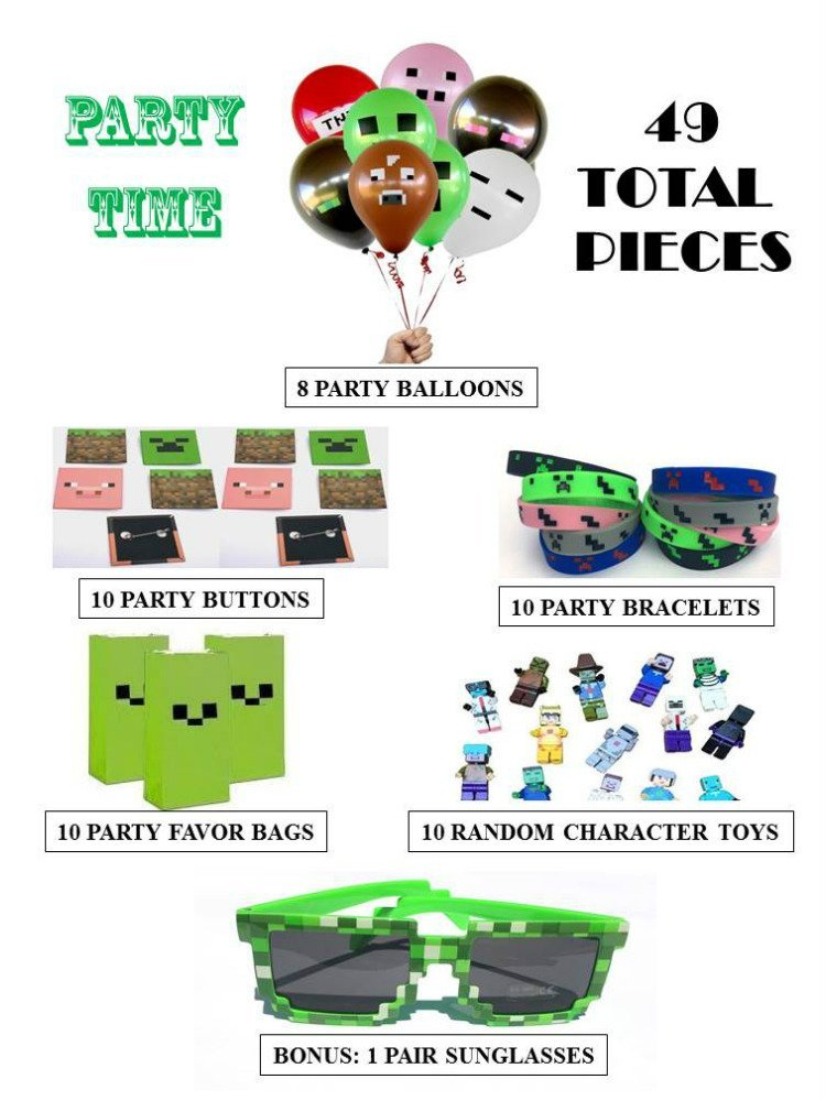 Party Favors for Miner Themed Birthday (for10 People) Birthday Party Supplies Themed Bags, Wristbands, Miner Pins, Mini Character Toys, 8 Balloons & a BONUS Pair of Sunglasses for the Birthday Child