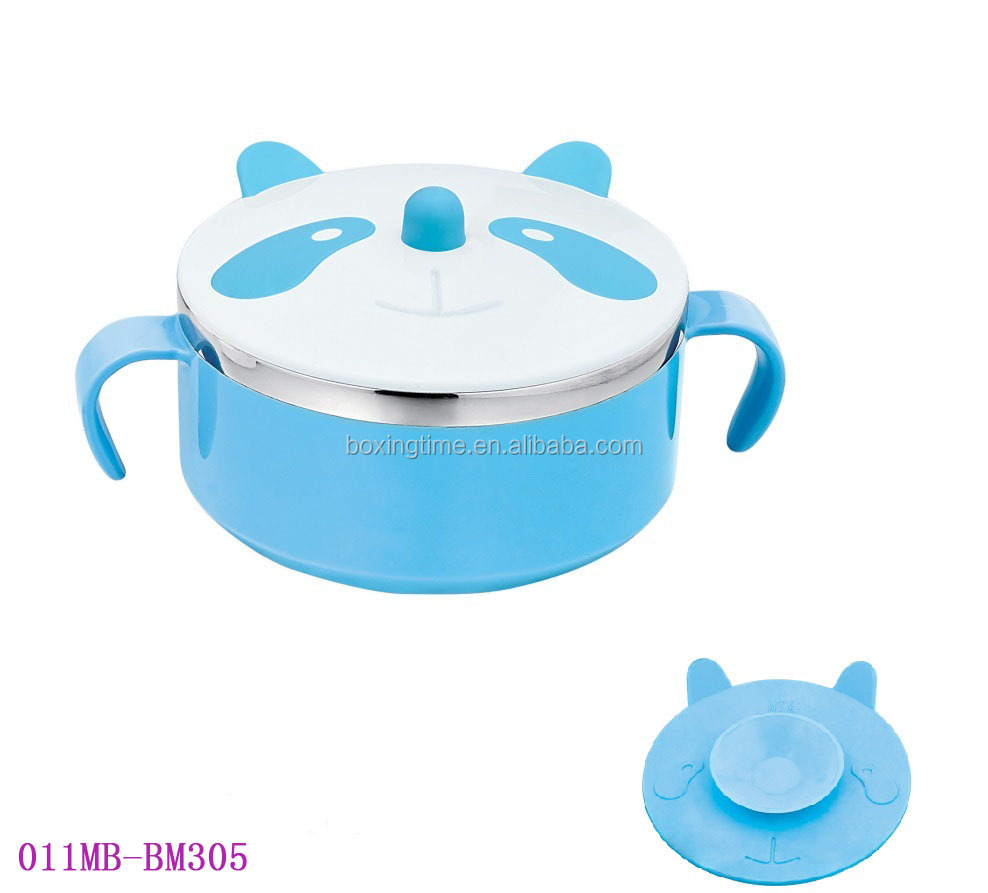 2016 New style Thermal stainless steel 304 panda bowl colorful plastic baby feeding suction bowl with lid and handle