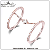 Perfect jewelry factory direct sale silver palting rose gold women fashion design finger ring