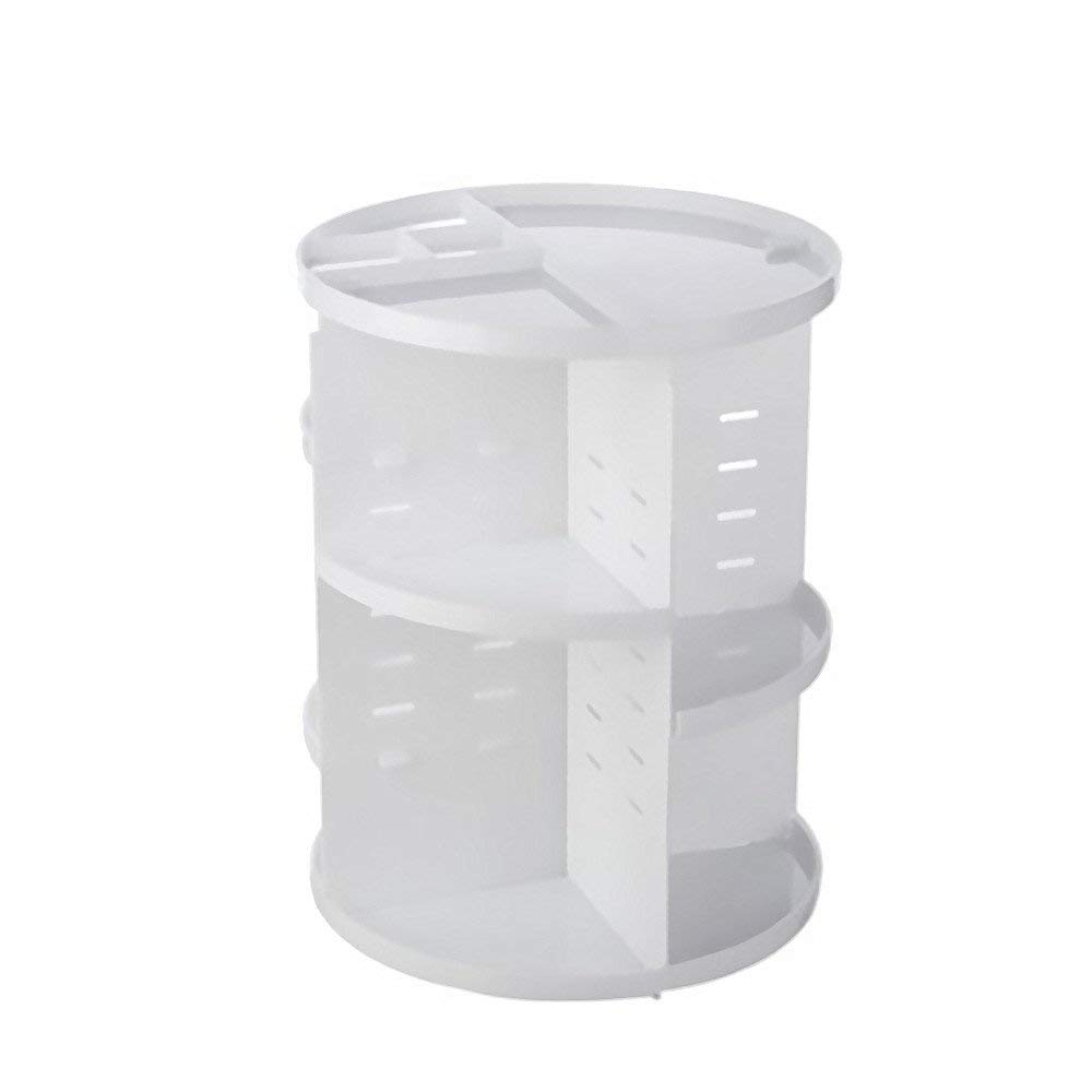 FILY Cosmetics Storage Rack All-inclusive Large-capacity Storage Items Portable Stylish 360-degree Rotating Makeup Organizer Adjustable Multi-functional Durable. (white)
