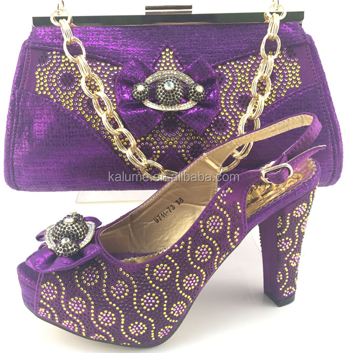 Factory Price Purple African Women High Heels Italy Matching Shoes And Bag Set With Rhinestones High Quality For Wedding ME7711