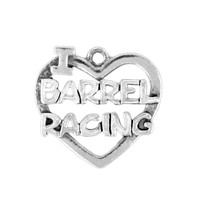 Alloy Message Accessories Wholesale Fashion Hollow I Heart Barrel Racing Charms & Pendant