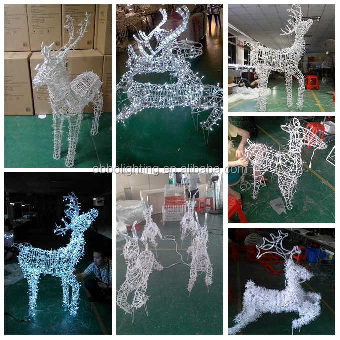 Large led santa reindeer 3d outdoor christmas decorations for Large outdoor christmas decorations for sale