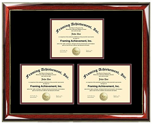 Three Certificate Frame Degree Framing Holds 3 Diploma Documents Framing Professional Certification State Board College University (Diploma Size - Up to 8.5x11)