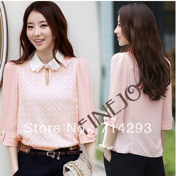 Blouse Overhemd.Korea Vrouwen Holle Kant Chiffon Pop Kraag Blouse Overhemd Tops Roze