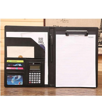 A4 New Design Manager Notebook PU Leather Padfolio File Document Holder Manager Notebook Office Supply Business Accessories