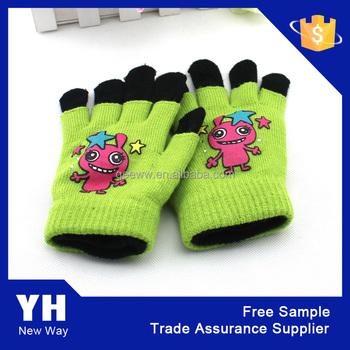 Best Selling Custom Knit Mittens For Kids Children Acrylic Knit