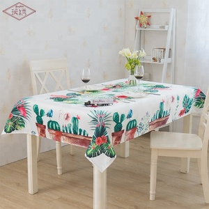 LongShow flamingos cactus pattern print satin party table cloth