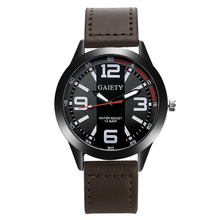 Gaiety Fashion Men Casual Black Face Leather Strap Quartz Wristwatch Watches For Men Business Sport Classic Vintage Watch