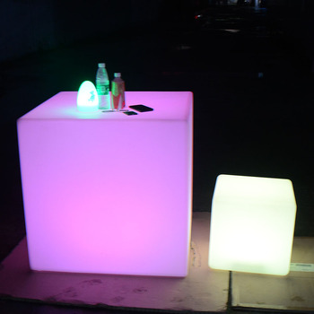 led cocktail bar table wireless illuminated led light cube seat chair lighting