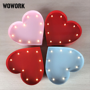 warm white LED heart shape sign lamp gift decorative vintage marquee light for christmas and holiday