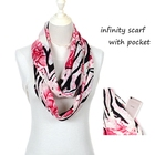 Hot Selling Women 180*50cm Chiffon Scarf Infinity Printed Scarf With Pocket