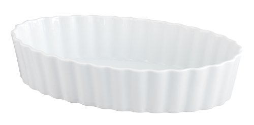 HIC Deep Oval Baking Dish, Fine White Porcelain, 12.25 x 2.5-Inches