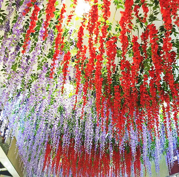 Wholesale Artificial Hanging Wisteria Silk Flower Length 110cm For