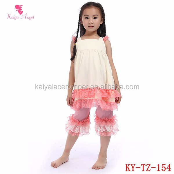 Wholesale girls' fashion boutique outfit sweet baby clothing setsgirls pink lace outfits