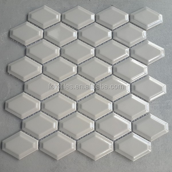 Light Grey Polished External Ceramic Honeycomb Mosaic Tile