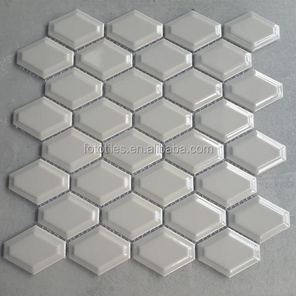Light Grey Polished External Ceramic Honeycomb Mosaic Tile