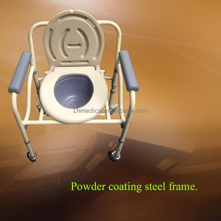 पहियों के साथ एल्यूमीनियम मिश्र धातु तह कमोड कुर्सी