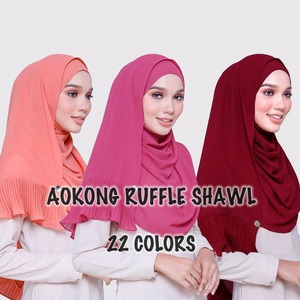New 22 colors women maxi chiffon ruffle hijabs shawls oversize head wraps soft long muslim crinkled pleated plain hijab scarf