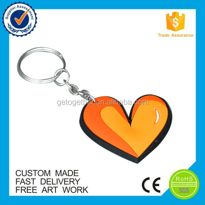 high quality lovely heart 3d pvc keychain
