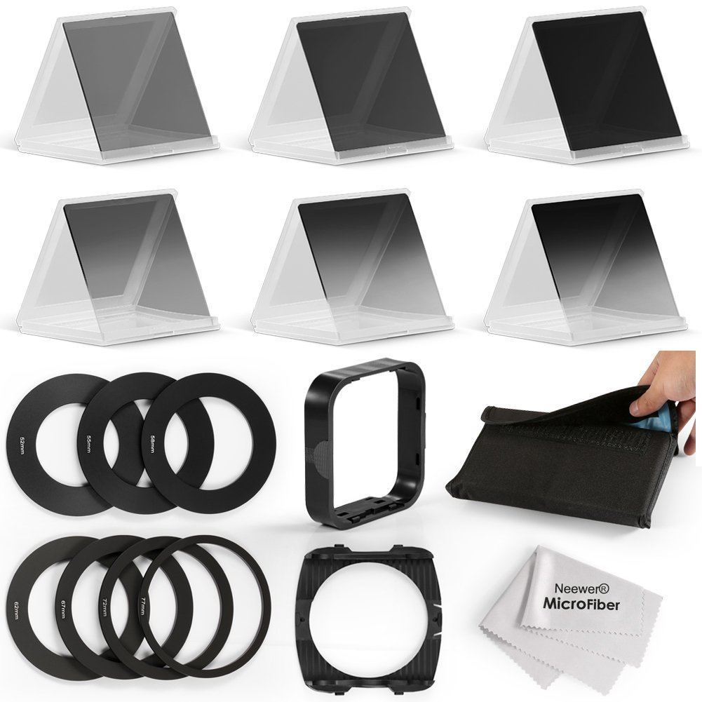 Neewer Complete ND Filter Kit for Cokin P Series:(3)Full ND Filters(ND2/ND4/ND8)+(3)Graduated ND Filters(G.ND2/G.ND4/G.N8)+(7)Adapter Rings+(1)Filter Holder+(1)Lens Hood+(1)Filter Pouch+(1)Cloth