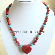 Red Sponge necklace with heart pendant Coral-jewelry-0066-03