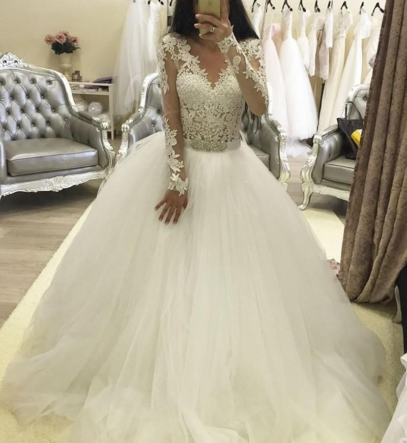 Ne132 Robe De Mariage En Dentelle Transparente à Manches Longues Robes De Mariée Arabe Robe De Bal Perlée Ceinture Vintage Robes De Mariée Buy Robes
