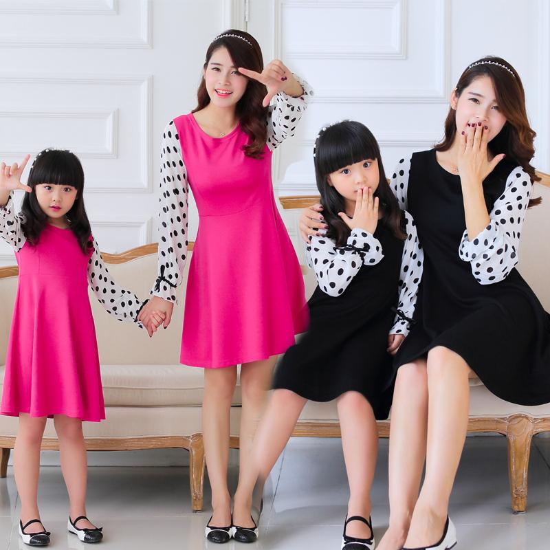 Семья одежда осень длинный рукав матери-дочери платья мама и дочь наряд roupa mae e filha