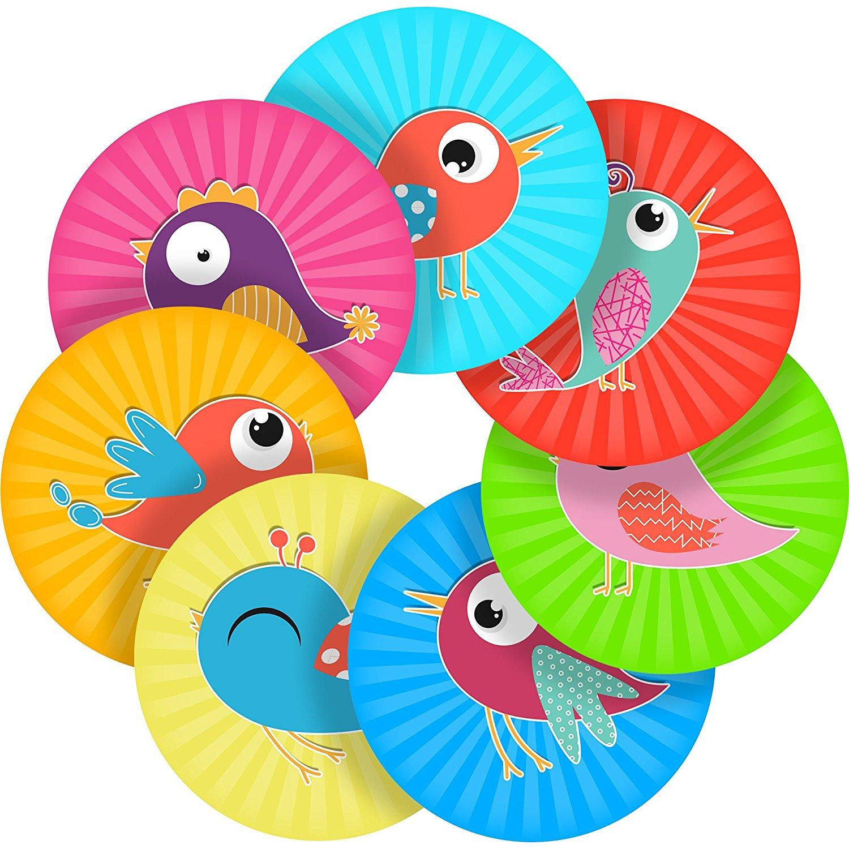 "Cute Birds Reward Sticker Labels, 70 Stickers @ 1"" inch, Glossy Photo Quality, Ideal for Children Parents Teachers Schools Doctors Nurses Opticians"